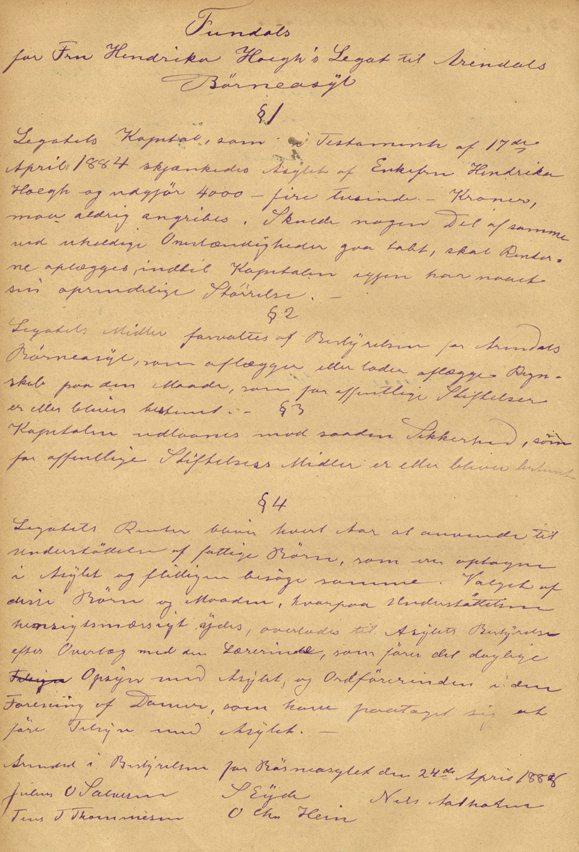 Protokoll fra ASYLET Arendal 1869 -  Høegh 1 - form