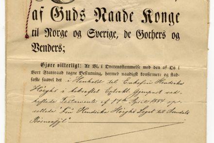 Stadfestelsesbrev av 2-6-1888 - side 1 - form