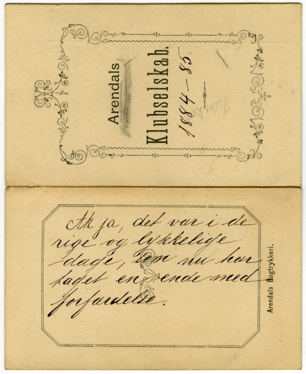 Isaac Kløvkers dansekort. Foreningsarkivsamlingen boks nr. 2, Kuben.