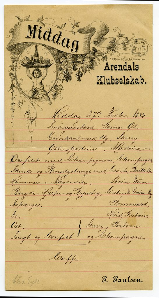 Arendals Klubselskab - 1885-85 - meny