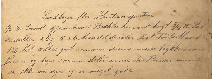 I Oselias kokebok finner vi en henvisning til en samtidsavis, Kristianiaposten, ved siden av oppskriften på Sandkager